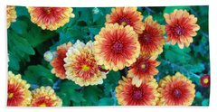 Beach Towel featuring the photograph Happy Faces. Fall Mums In Orange And Yellow by Connie Fox