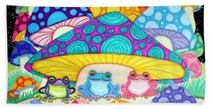 Happy Frogs In The Starlight  Beach Towel