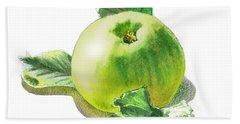 Beach Sheet featuring the painting Happy Green Apple by Irina Sztukowski