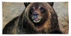 Happy Grizzly Bear Beach Towel