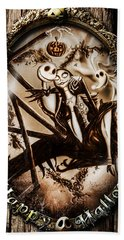 Happy Halloween IIi Sepia Version Beach Towel