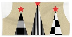 Happy Holidays With Black And White Trees Beach Towel
