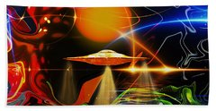 Beach Towel featuring the digital art Happy Landing by Eleni Mac Synodinos