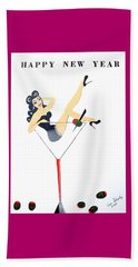 Beach Towel featuring the painting Happy New Year by Nora Shepley