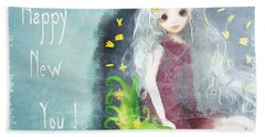 Beach Towel featuring the digital art Happy New You by Barbara Orenya