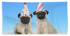 Happy Pug Birthday Beach Towel