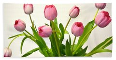 Beach Towel featuring the digital art Happy Spring Pink Tulips 2 by Jeannie Rhode
