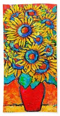 Happy Sunflowers Beach Sheet by Ana Maria Edulescu