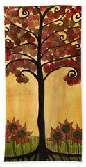 Happy Tree In Red Beach Towel