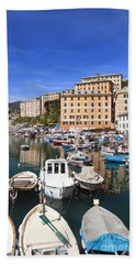 harbor in Camogli - Italy Beach Sheet by Antonio Scarpi