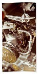 Beach Towel featuring the photograph Harley Davidson Closeup by Carsten Reisinger