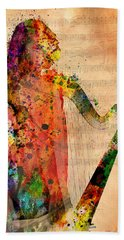 Harp Digital Art Beach Towels