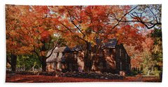 Hartwell Tavern Under Canopy Of Fall Foliage Beach Towel by Jeff Folger