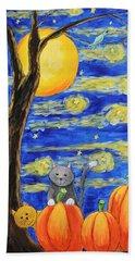 Harvest Moon Over The Pumpkins Beach Sheet