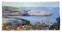 Hassam's Poppies On The Isles Of Shoals Beach Towel by Cora Wandel