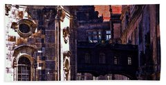 Beach Towel featuring the photograph Hausmann Tower In Dresden Germany by Jordan Blackstone