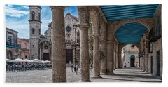 Havana Cathedral And Porches. Cuba Beach Towel