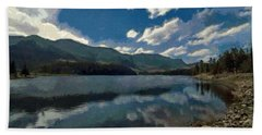 Beach Towel featuring the painting Haviland Lake by Jeff Kolker