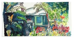 Beach Sheet featuring the painting Hawaiian Cottage 3 by Marionette Taboniar