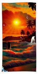Beach Sheet featuring the digital art Hawaiian Islands by Michael Rucker