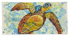 Beach Sheet featuring the painting Hawaiian Sea Turtle 2 by Darice Machel McGuire