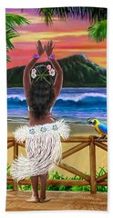 Hawaiian Sunset Hula Beach Towel by Glenn Holbrook