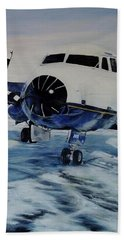 Beach Towel featuring the painting Hawker - Airplane On Ice by Marilyn  McNish