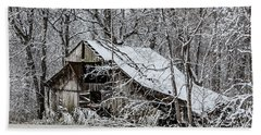 Beach Towel featuring the photograph Hay Barn In Snow by Debbie Green