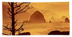 Beach Towel featuring the photograph Haystack Burnt Sienna by Wendy McKennon