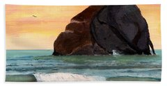 Haystack Rock At Kiwanda Beach Towel