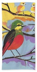 Beach Sheet featuring the painting He Aint That Tweet by Kathleen Sartoris