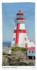 Head Harbour Lighthouse Pencil Sketch Beach Towel