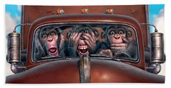 Hear No Evil See No Evil Speak No Evil Beach Towel by Mark Fredrickson