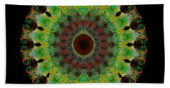 Heart Aura - Mandala Art By Sharon Cummings Beach Towel