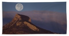 Heart Mountain And Full Moon-signed-#0325 Beach Towel by J L Woody Wooden