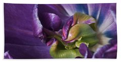 Heart Of A Purple Tulip Beach Towel by Rona Black