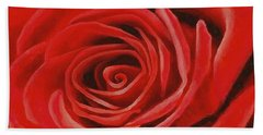 Heart Of A Red Rose Beach Towel