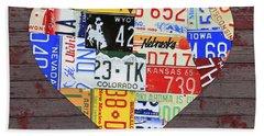 Heart Of America Usa Heartland Map License Plate Art On Red Barn Wood Beach Towel