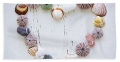 Heart Of Seashells And Rocks Beach Towel