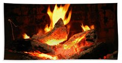 Beach Towel featuring the photograph Heart-shaped Ember In Roaring Fire by Connie Fox