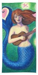 Beach Towel featuring the painting Heart Tail Mermaid by Sue Halstenberg