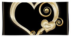 Hearts In Gold And Ivory On Black Beach Towel