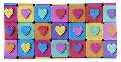 Hearts Of Colour Beach Towel