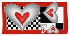 Hearts On A Chessboard Beach Towel