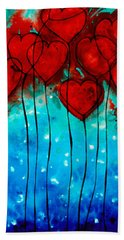 Hearts On Fire - Romantic Art By Sharon Cummings Beach Towel