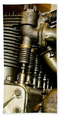 Beach Towel featuring the photograph Heath-henderson Motorcycle Engine by Wilma  Birdwell
