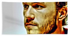 Heath Ledger Portrait Beach Sheet by Florian Rodarte