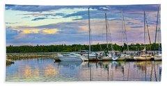 Hecla Island Boats II Beach Sheet by Teresa Zieba