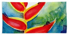 Heliconia - Abstract Painting Beach Towel by Carlin Blahnik