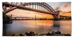 Hell Gate And Triboro Bridge At Sunset Beach Sheet